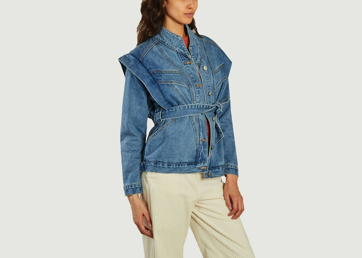 Veste en jean ceinturée avec épaulettes Duna - Suncoo