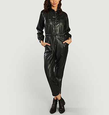 Tina faux-leather 7/8 length jumpsuit