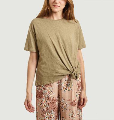 T-shirt en lin et coton noué Mattew