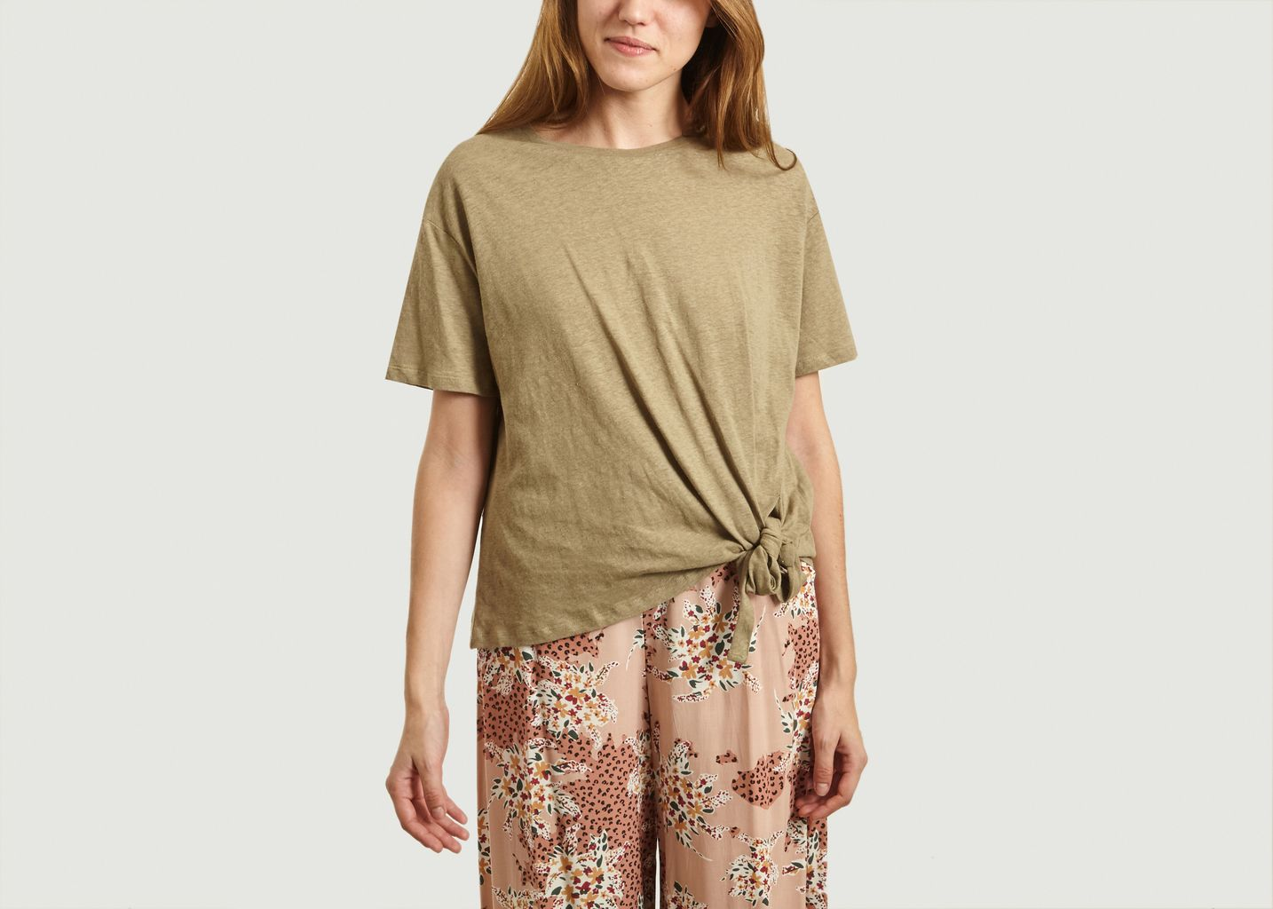 T-shirt en lin et coton noué Mattew - Suncoo