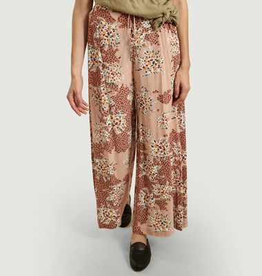 Jerry loose trousers with floral and panther pattern