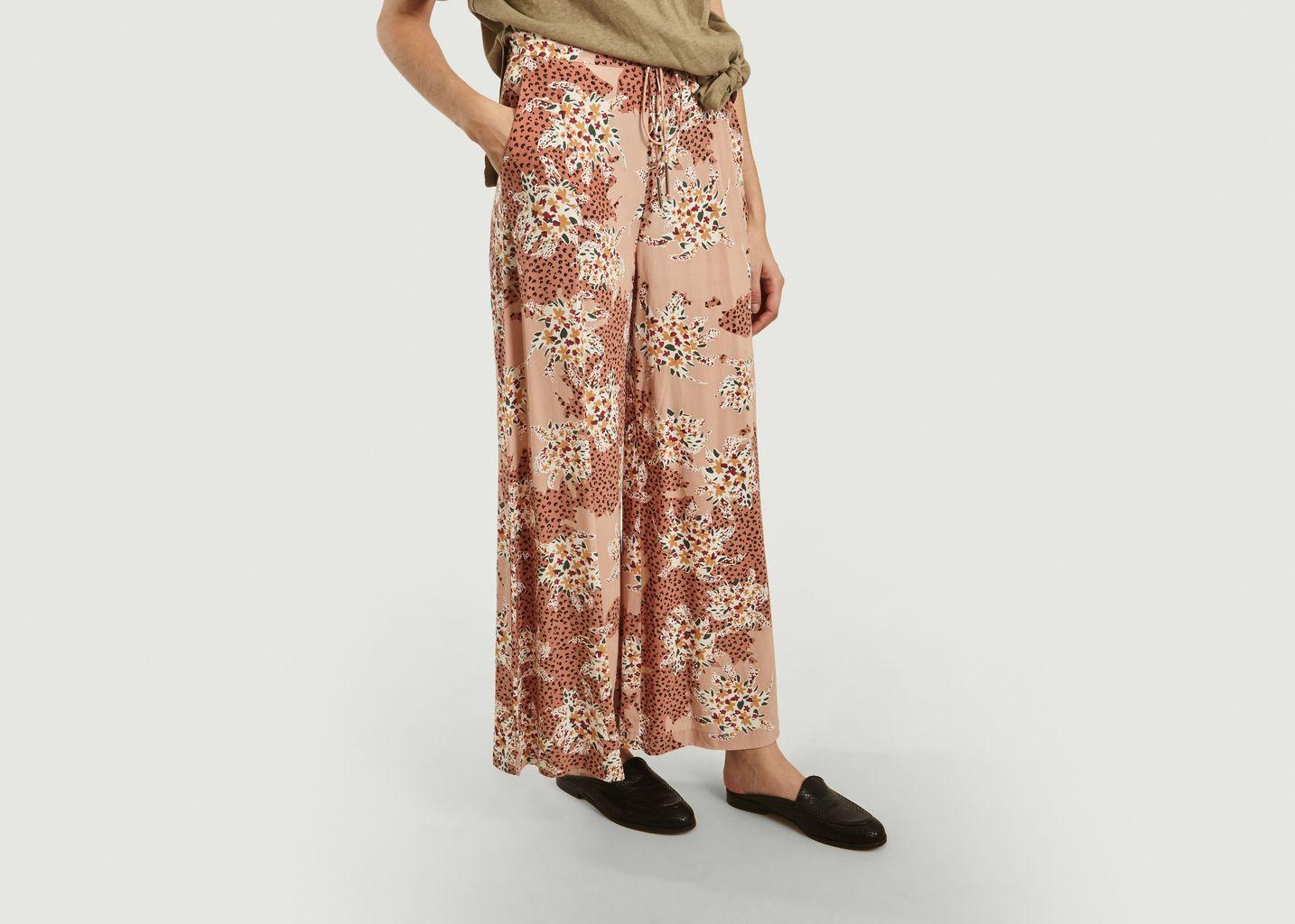 Pantalon ample motif fleuri et panthère Jerry - Suncoo