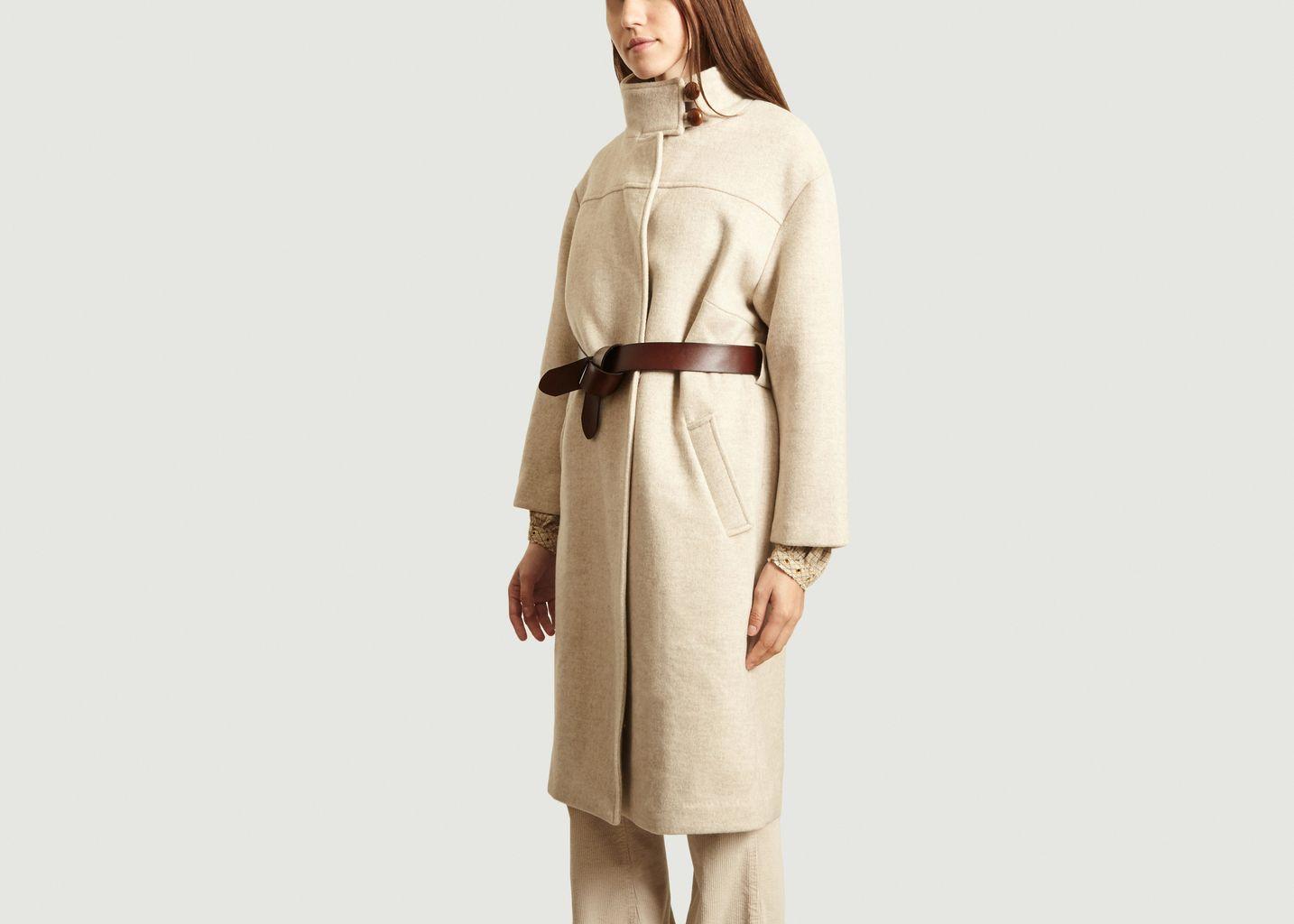 Manteau écrin avec ceinture en cuir - Suncoo