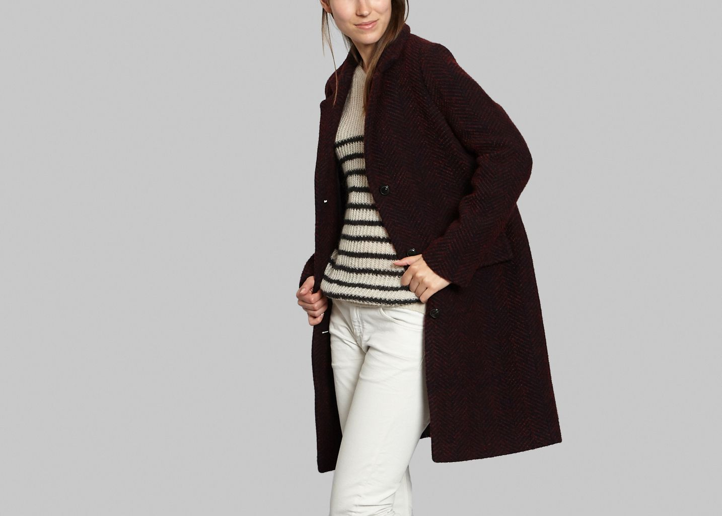 Manteau Mi-long Chevrons - Swildens