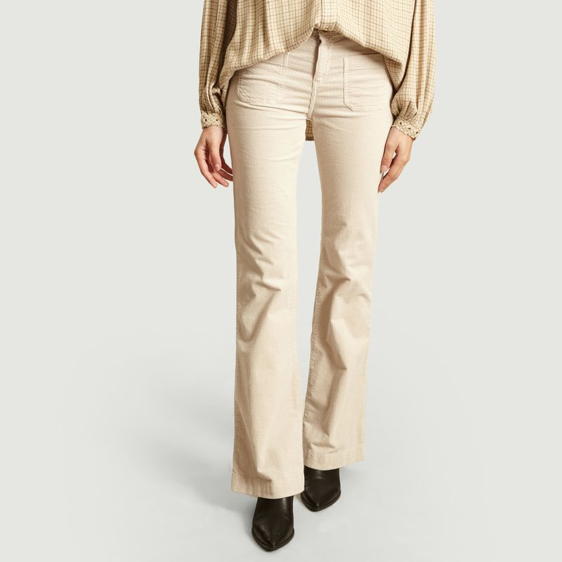 Pantalon évasé en velours côtelé Fraise - Swildens