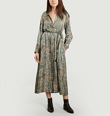 Chine Paisley print long shirt dress