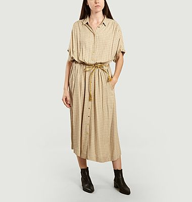 Cathie checked long shirt dress