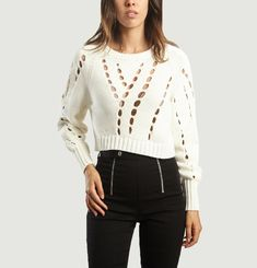 Pull Cropped Troué Oversize