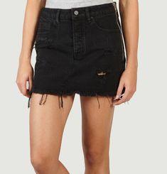 Destroy A Zip Denim Mini Skirt