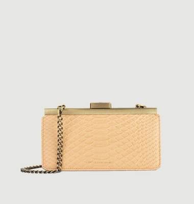 Jeanne Baguette croco effect leather clutch bag