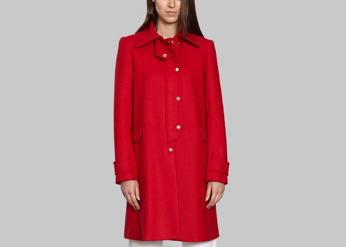 9824dbf1f3d Flat Button Coat Red Tara Jarmon