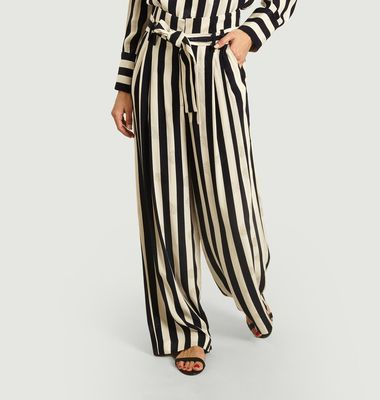 Wide striped trousers with seashell pattern