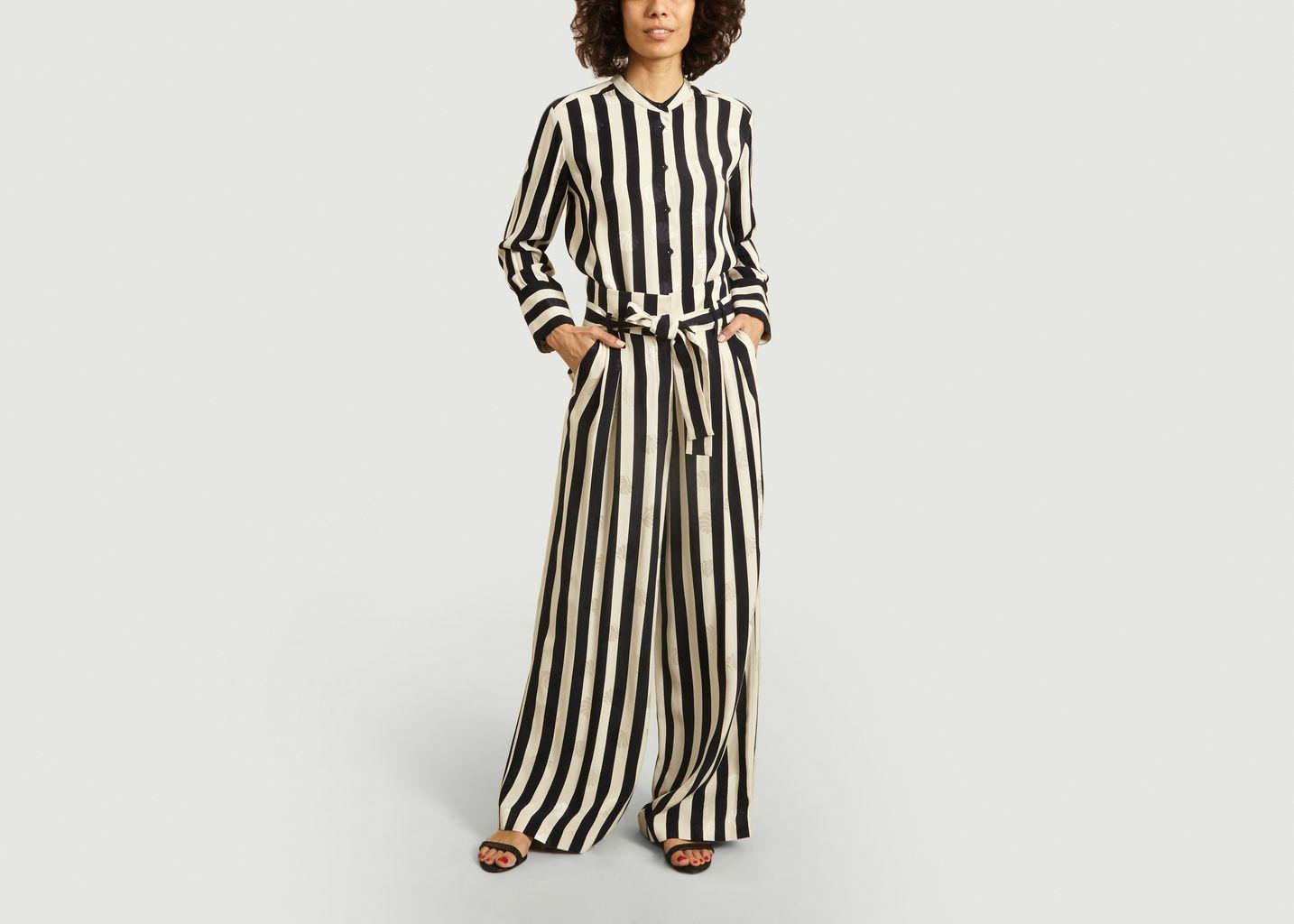 Pantalon large rayé avec motif coquillages - Tara Jarmon