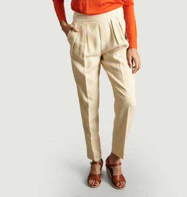 Pantalon Taille Haute Double Pinces en Lin