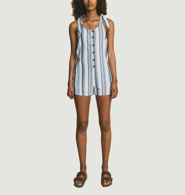Striped printed short jumpsuit