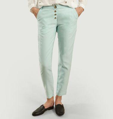 Pantalon En Coton Et Lin Océan