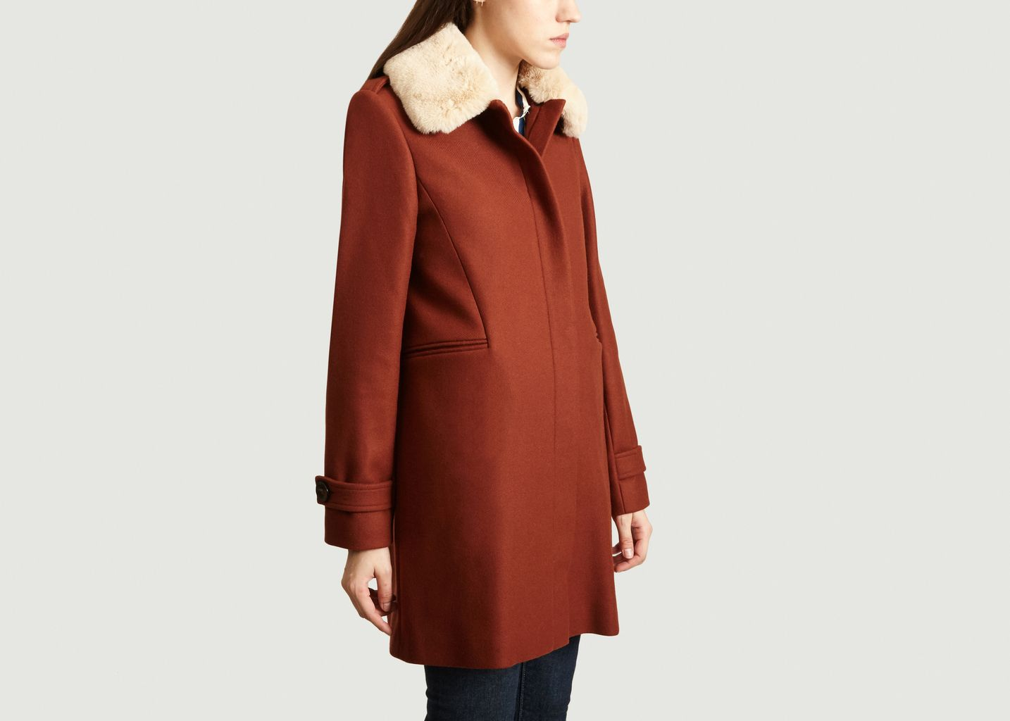 Manteau A Col Amovible Effet Fourrure Seynod - Trench And Coat