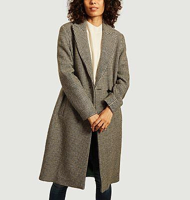 Manteau long motif pied-de-poule Senlis