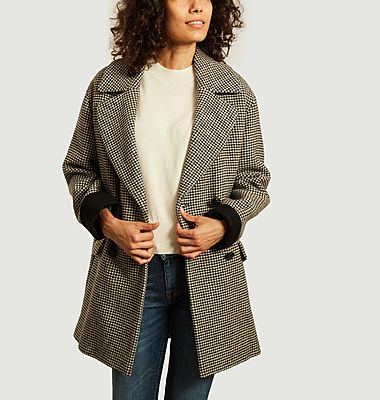 Velines houndstooth mid-length coat