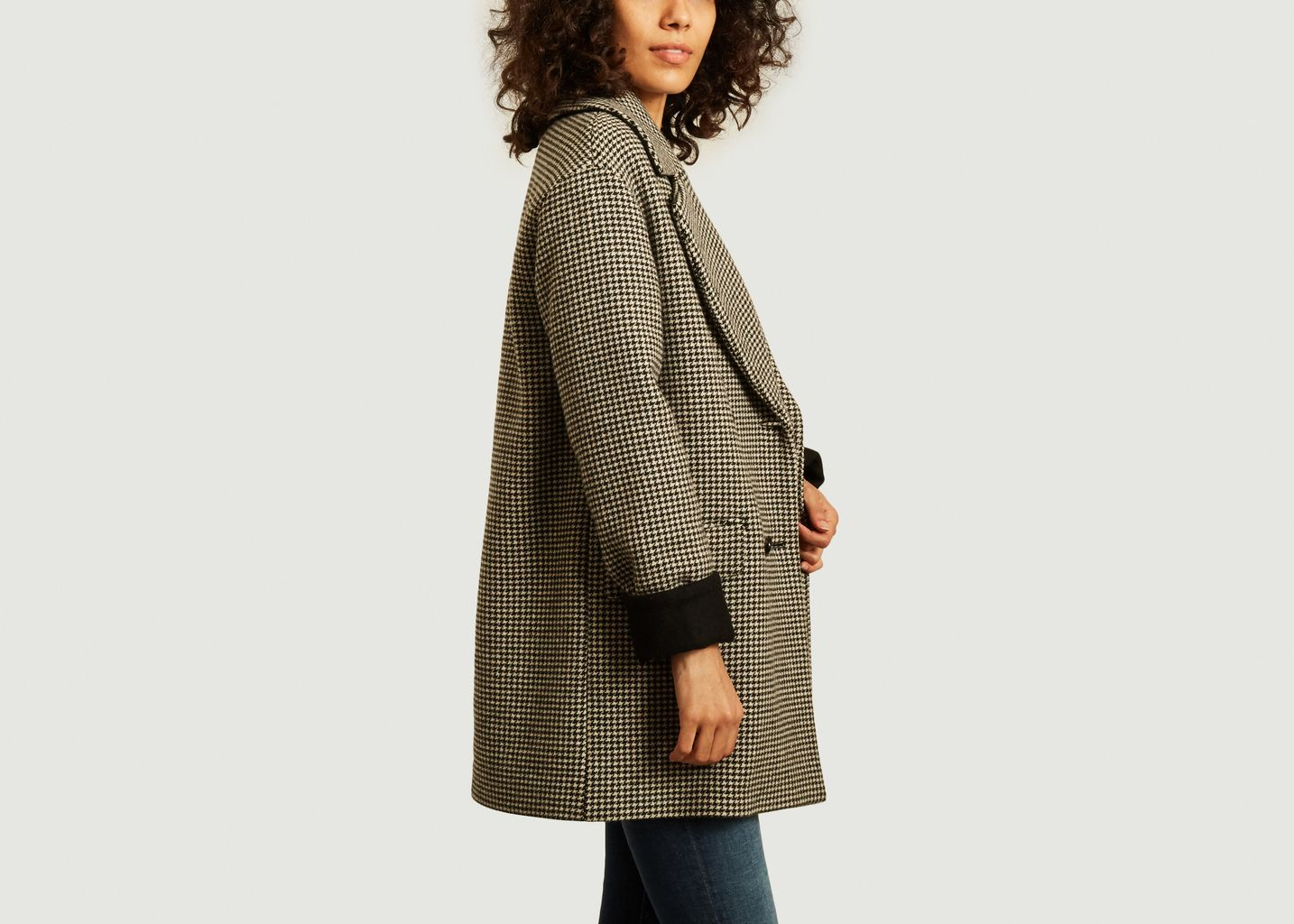 Manteau mi-long motif pied-de-poule Velines - Trench And Coat