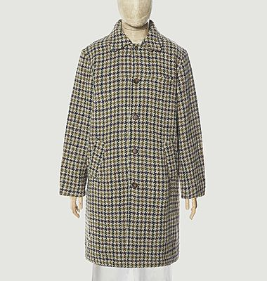 Recycled tweed houndstooth pattern straight coat