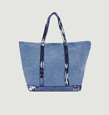 Medium bag linen and sequins