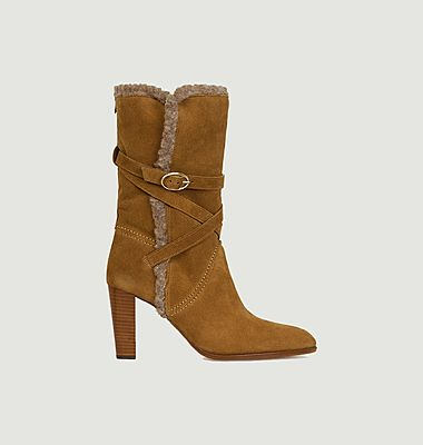Mid-high suede leather faux-fur lined boots