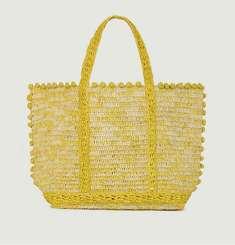 Medium + raphia tote bag with bubbles
