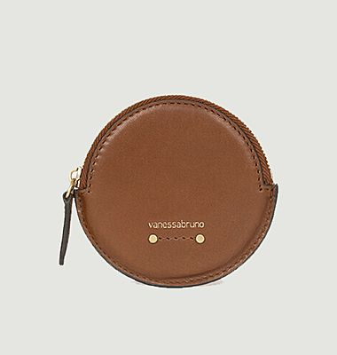 Round leather purse