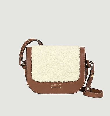Holly leather and faux-fur messenger bag