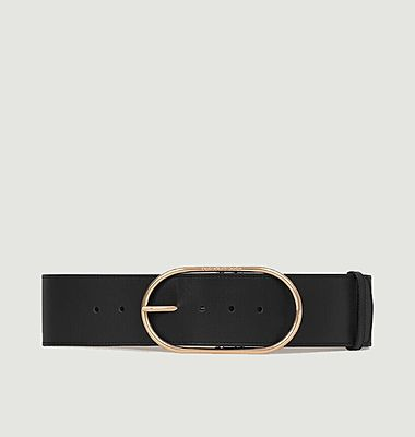 Large leather belt with ovale buckle