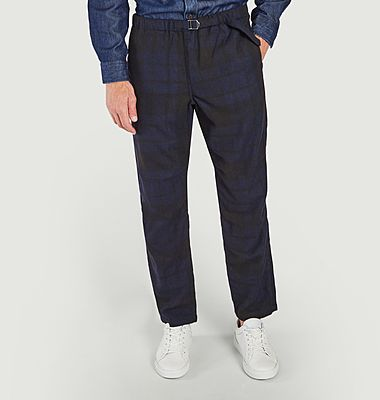 Pantalon tartan en bleu marine