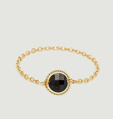 Bague chaîne pierre facettée gold filled Swan