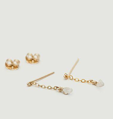 Boucles d'oreilles pendantes gold filled Diamant brut