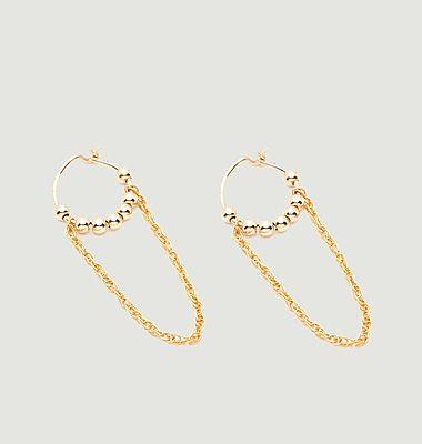 Boucles d'oreilles chaînette mini anneaux Fruits d'or