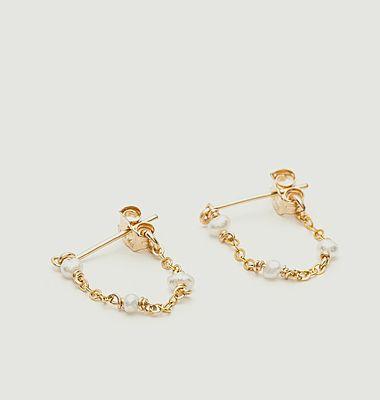 Satellite cultured pearls chain mini earrings