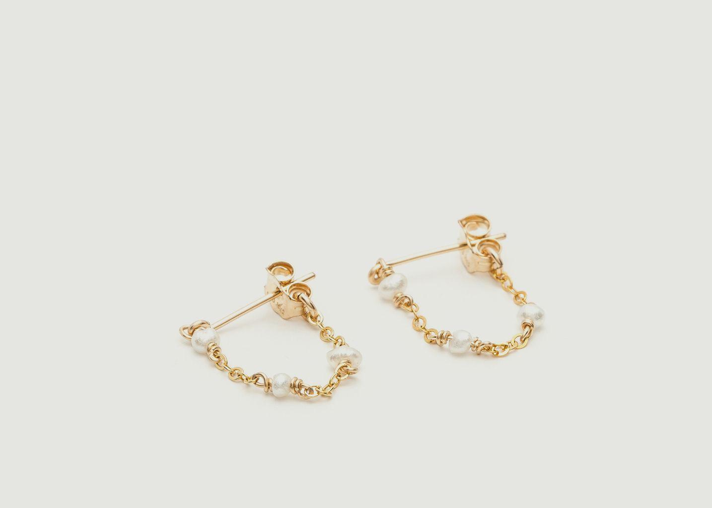 Mini boucles d'oreilles chaînette perles de culture Satellite - YAY