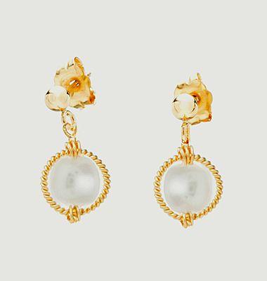 Boucles d'oreilles puces perles de culture Swan