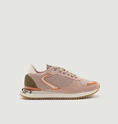 Runnix Trim suede leather and fabric running sneakers